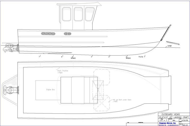 Response Marine 26 Landing Craft Design Jet Drive Drawings